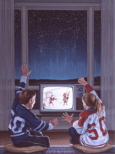 Hockey Face Off Painting Ken Danby