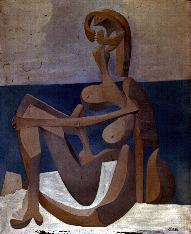 nude woman with clarinet